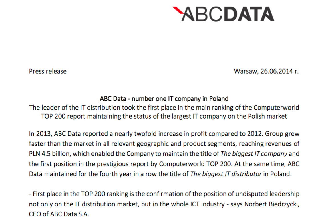 Norbert Biedrzycki - abc data