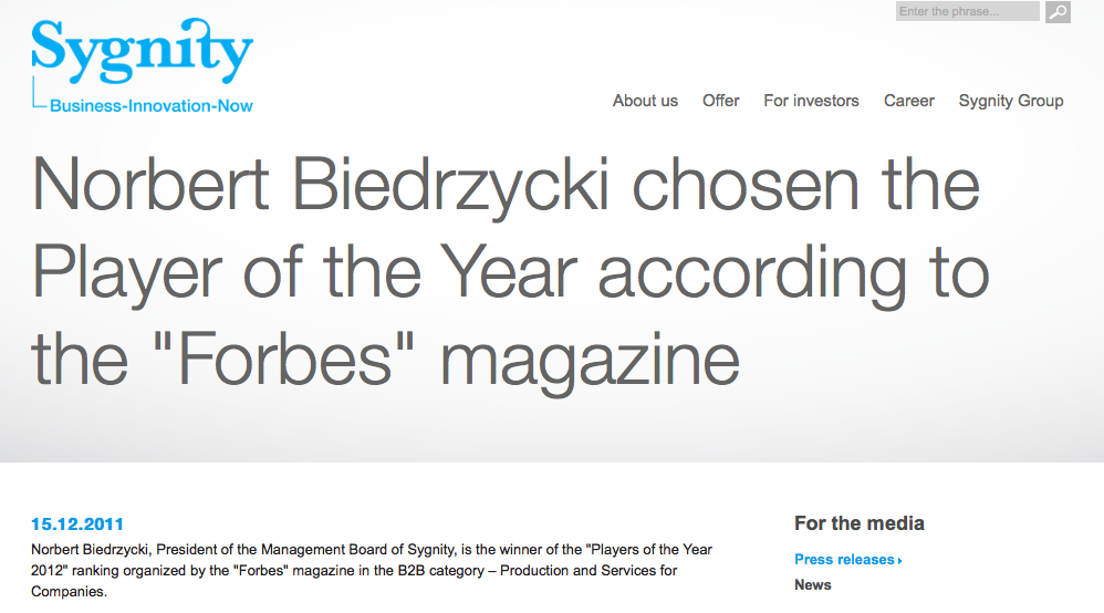 Norbert Biedrzycki - player of the year