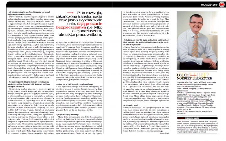 Sygnity na prostej i przyspiesza Norbert Biedrzycki page 0