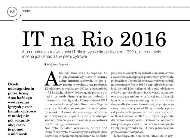 IT na Rio 2016 Norbert Biedrzycki manager