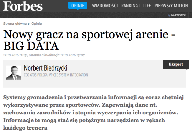 Norbert Biedrzycki forbes sport big data