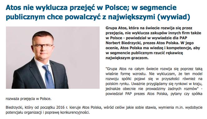 Atos nie wyklucza przejęć w Polsce Norbert Biedrzycki