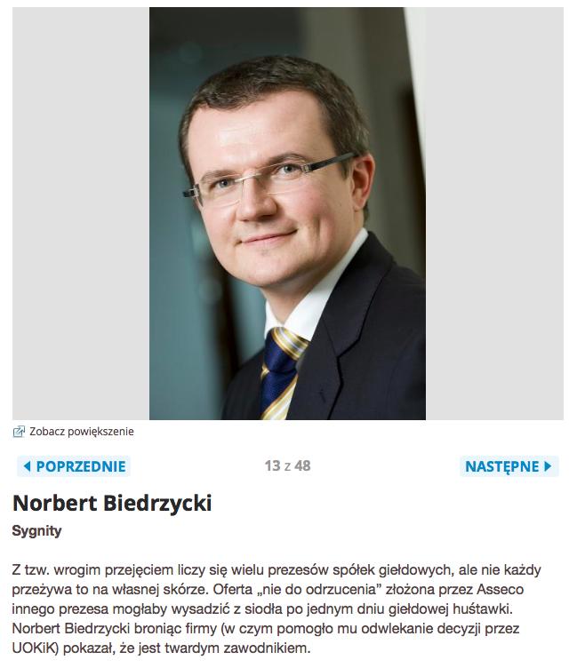 Computerworld TOP200 Najbardziej wpływowi ludzie w polskim IT Norbert Biedrzycki