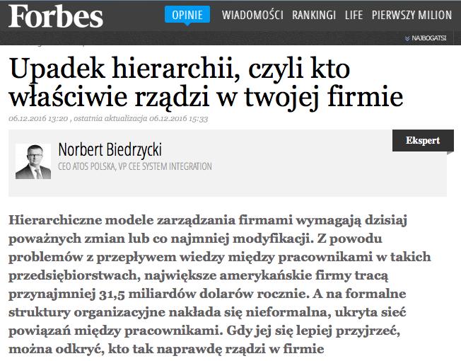 Forbes - Norbert Biedrzycki Upadek hierarchii