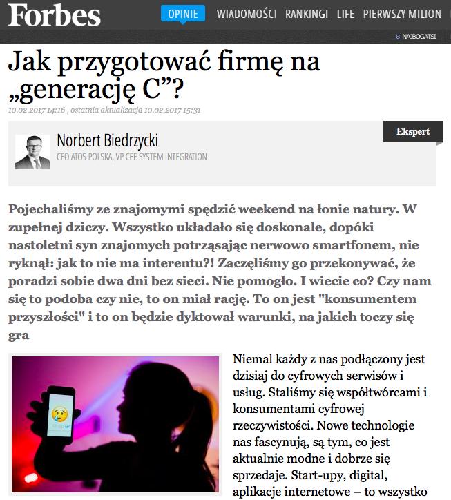 Norbert Biedrzycki Forbes Generacja C