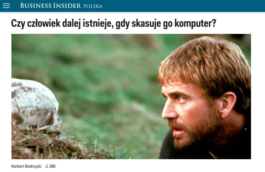 Norbert Biedrzycki Czy człowiek dalej istnieje, gdy skasuje go komputer