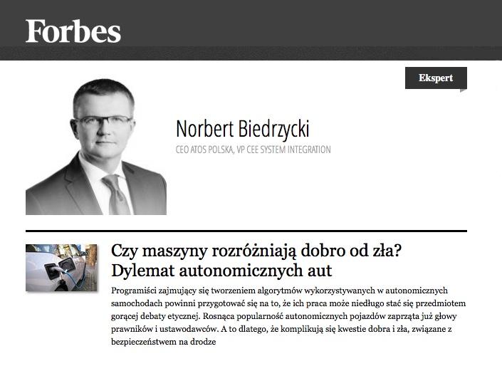 Forbes Norbert Biedrzycki - etyka samochodow autonomicznych