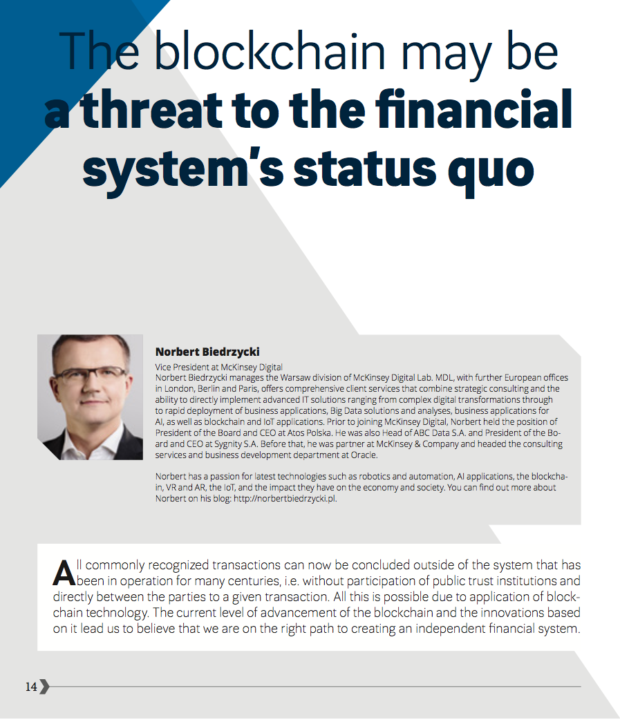 OutsourcingMagazine Blockchain Norbert Biedrzycki page_1 blockchain may be a threat