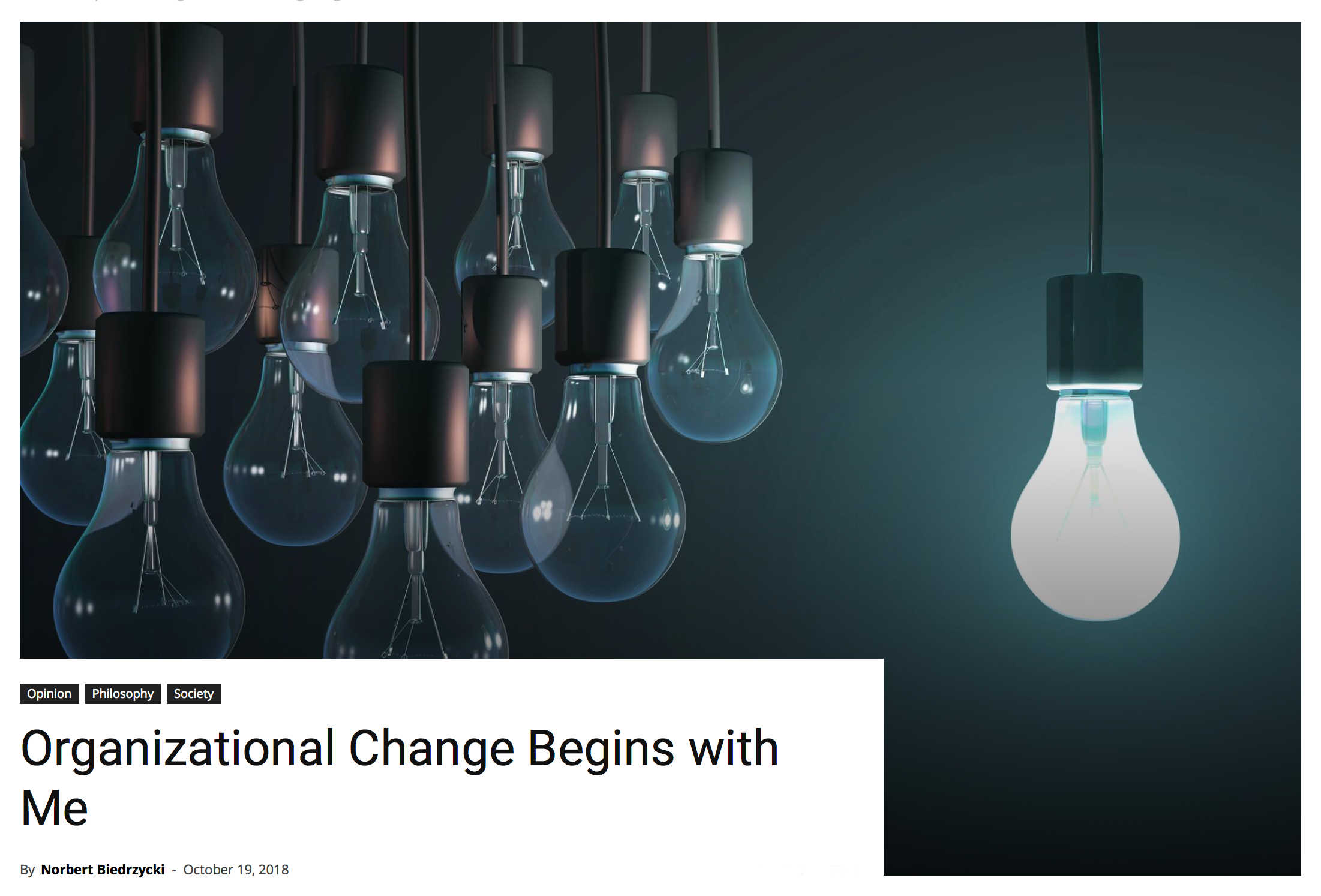 Organizational change starts with me Norbert Biedrzycki