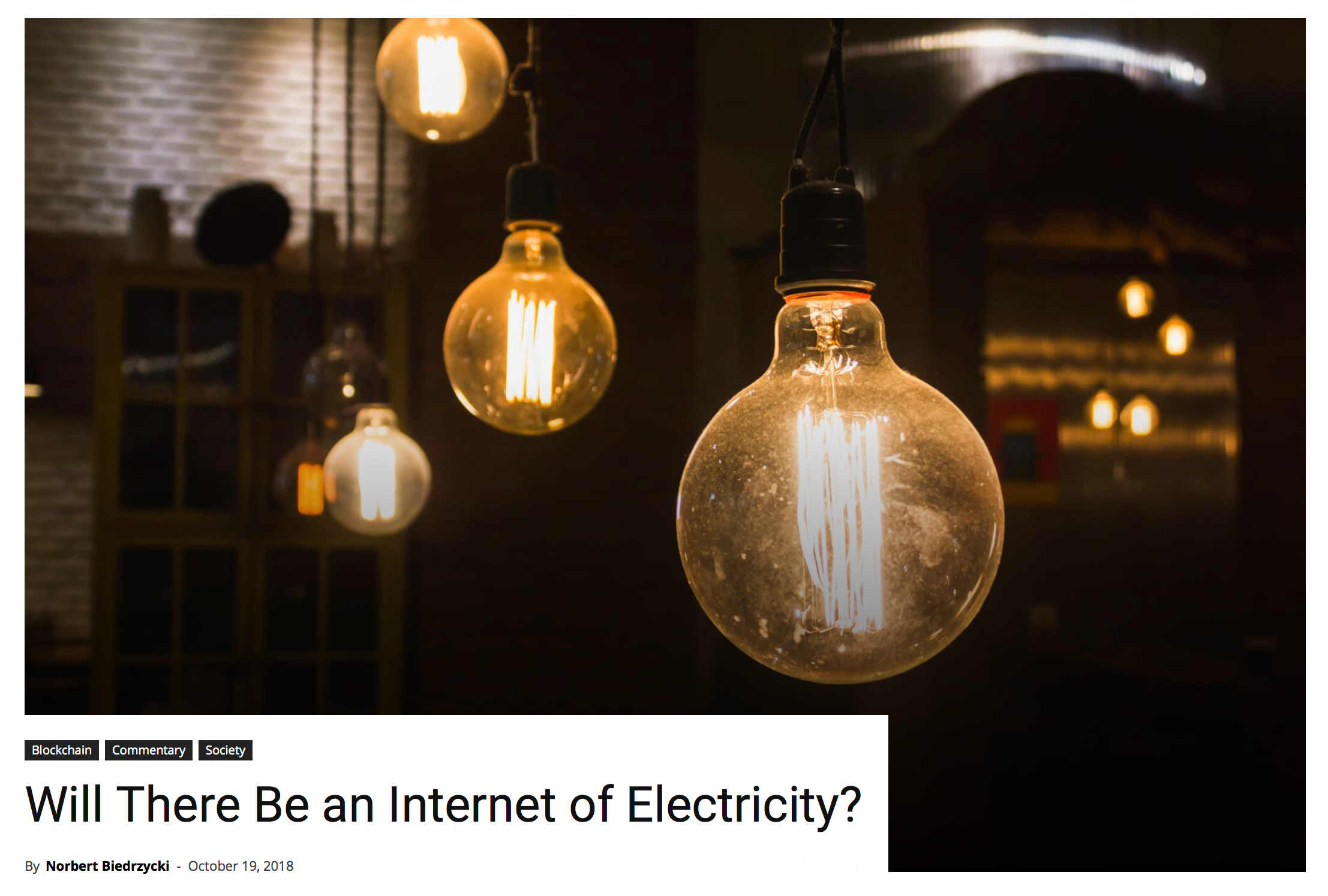 Will there be an Internet of Electricity Norbert Biedrzycki